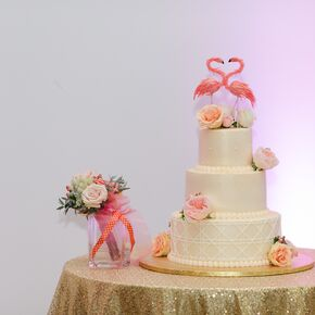 Ivory Wedding Cake With Flamingo Topper