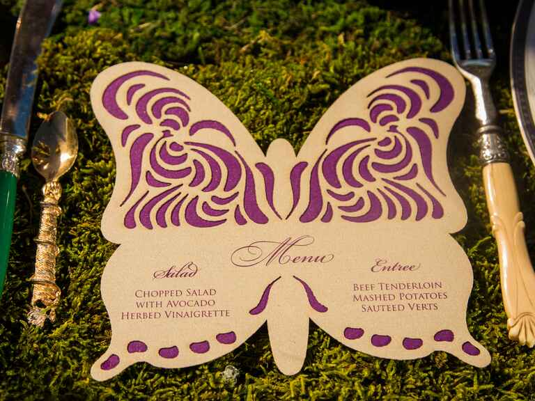 Ethereal butterfly cutout menu card
