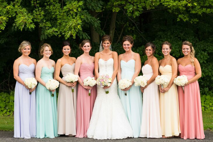 Multi-colored Pastel Bridesmaid Dresses