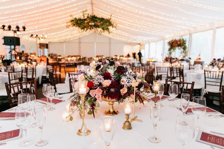 Romantic Tented Reception with String Lights and Fall Flowers