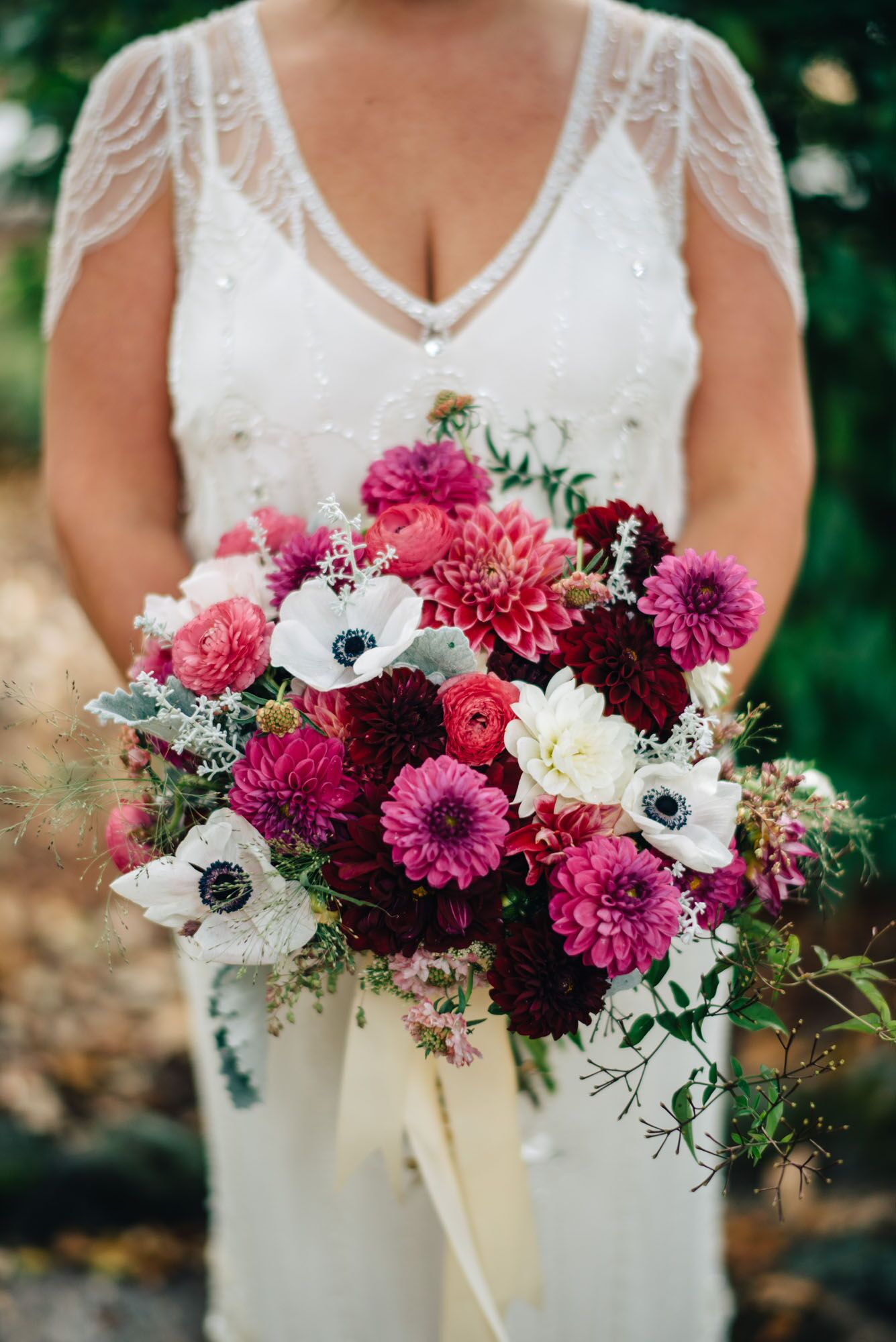 Anemone And Dahlia Bridal Bouquet