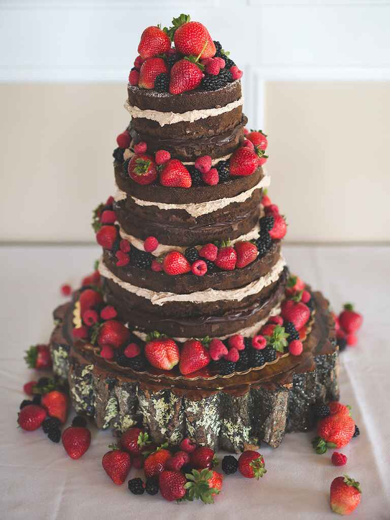 Naked chocolate wedding cake with fresh berries