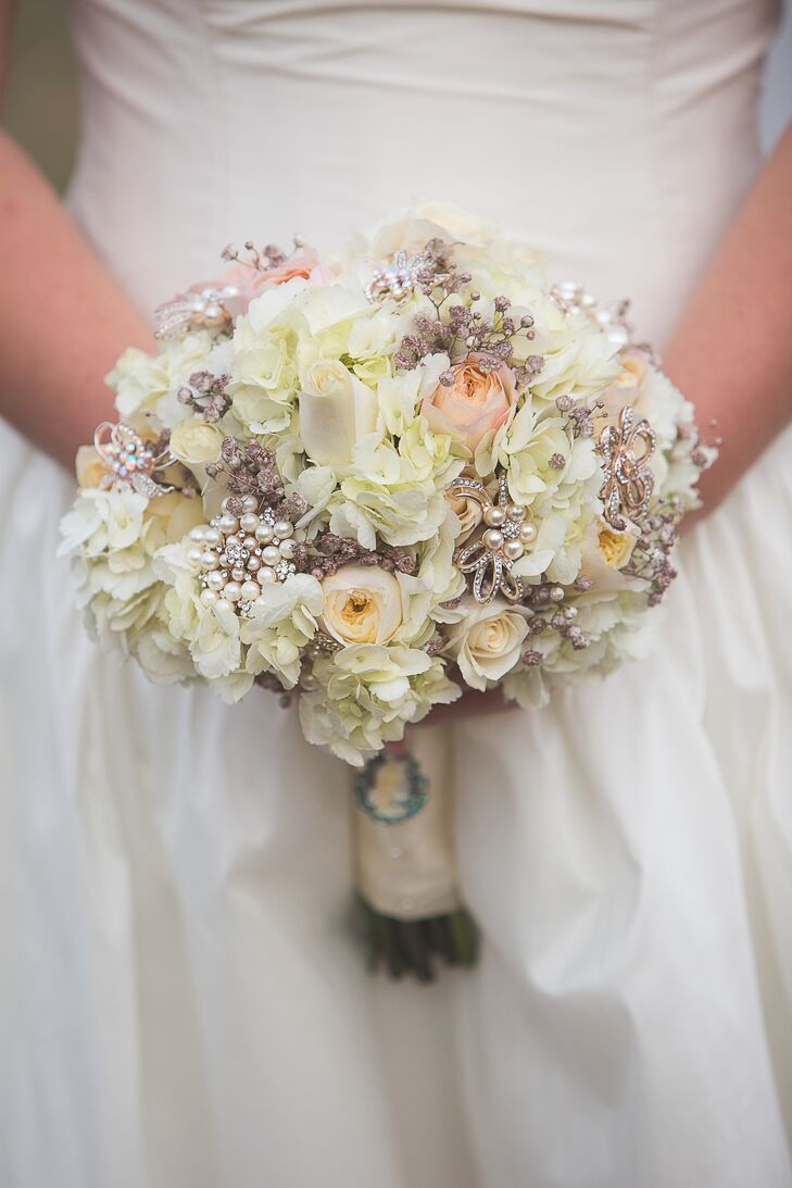 Rose Hydrangea And Brooch Bouquet