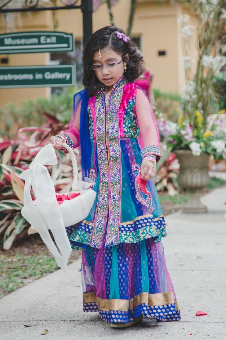 Long Bright Traditional Flower Girl Dress