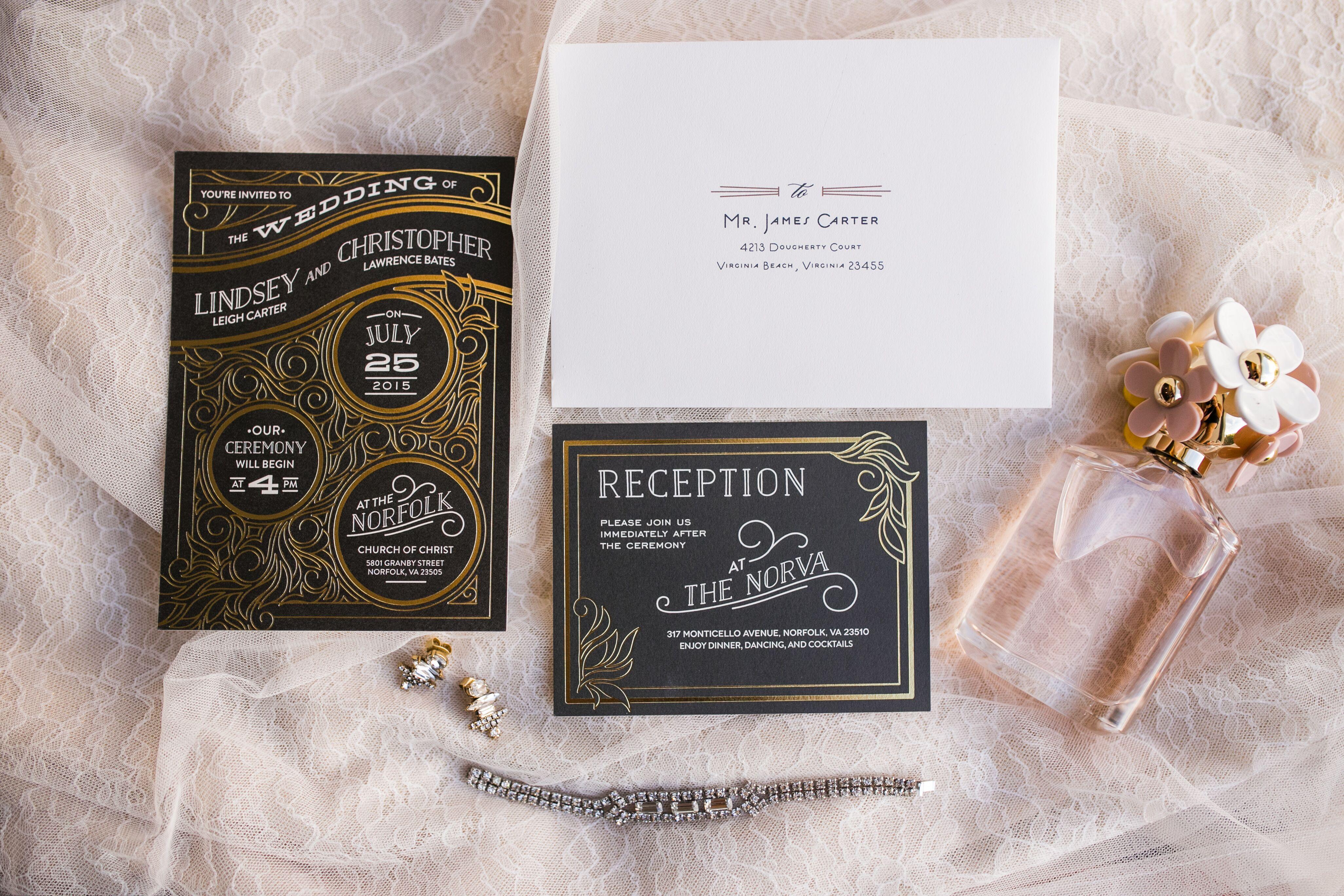 black and gold art deco style invitations - Gold Wedding Invitations