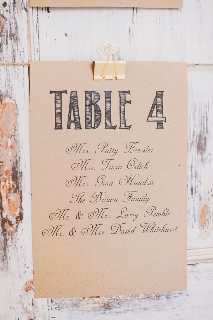 Rustic Hand-Lettered Seating Charts
