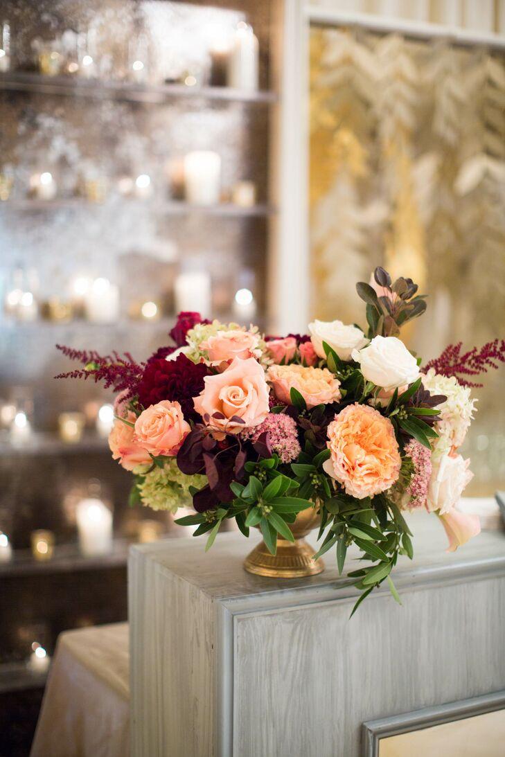 romantic garden rose and astilbe flower arrangements