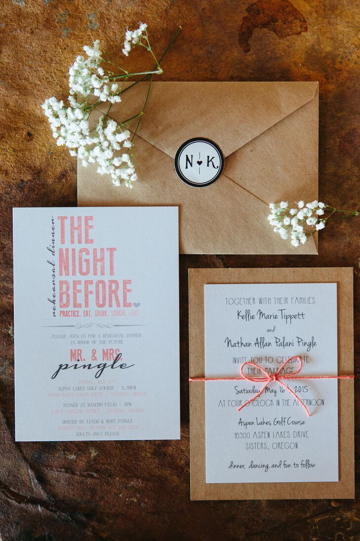 Wedding invitations were printed on white stationery with black and coral text, tied with coral ribbon. The invitations were placed inside kraft paper envelopes, which were sealed with a black-and-white custom-made sticker that displayed Kellie's and Nathan's first-name initials.