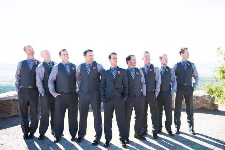 Formal Three-Pieces Gray Groomsmen Suits