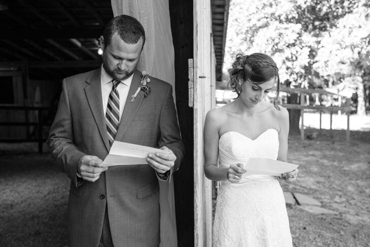 Bride and Groom Reading Letters Before Ceremony