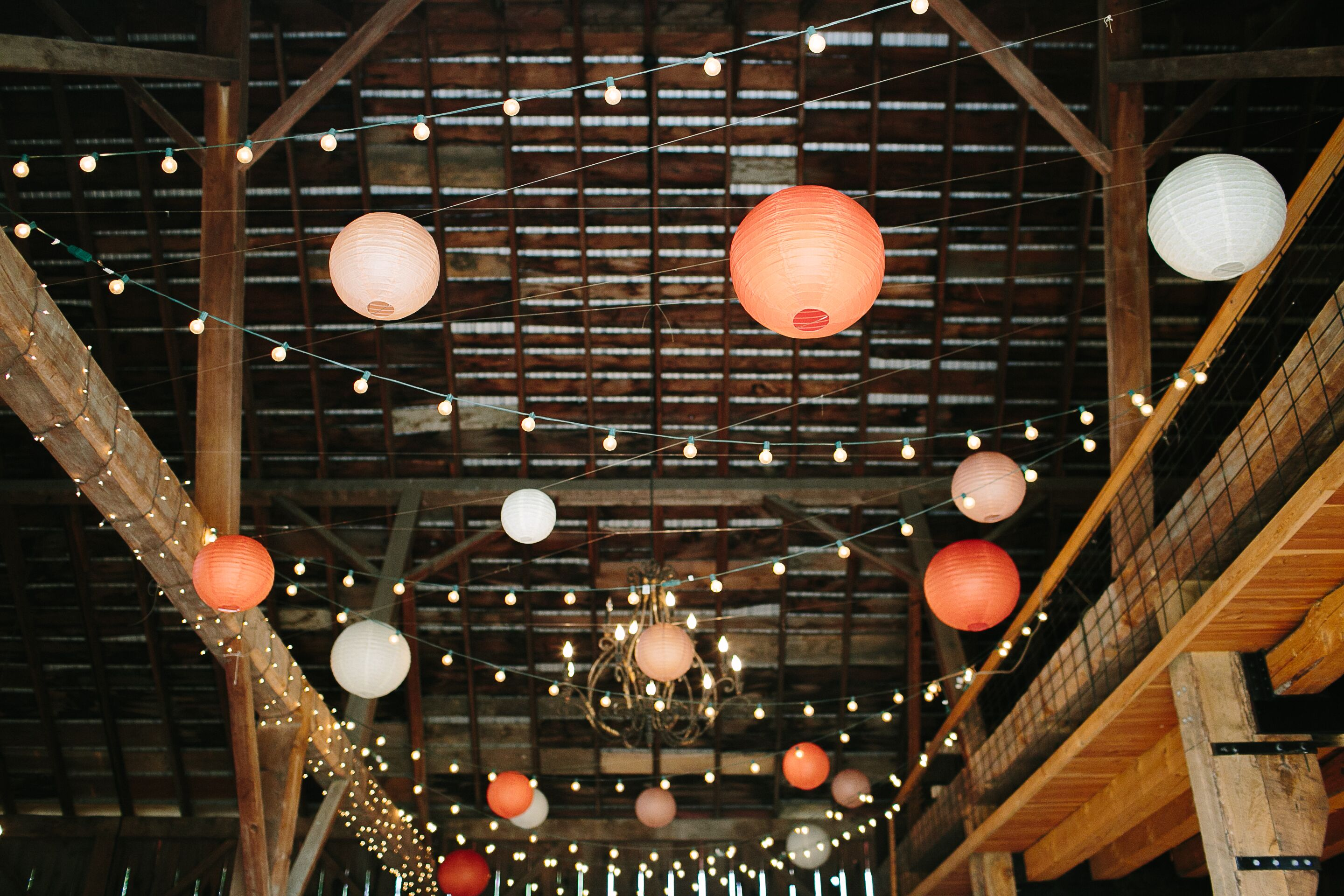 Barn Reception With Paper Lanterns And String Lights