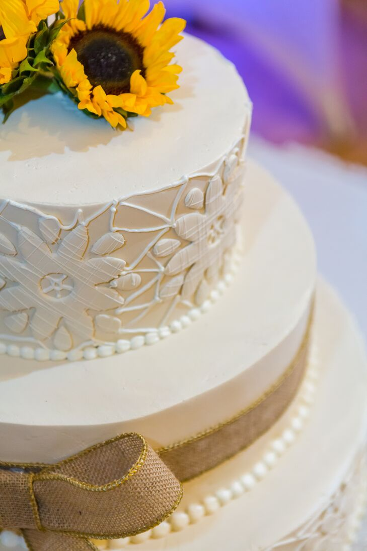 Ornate Sunflower Wedding Cake with Burlap Ribbon