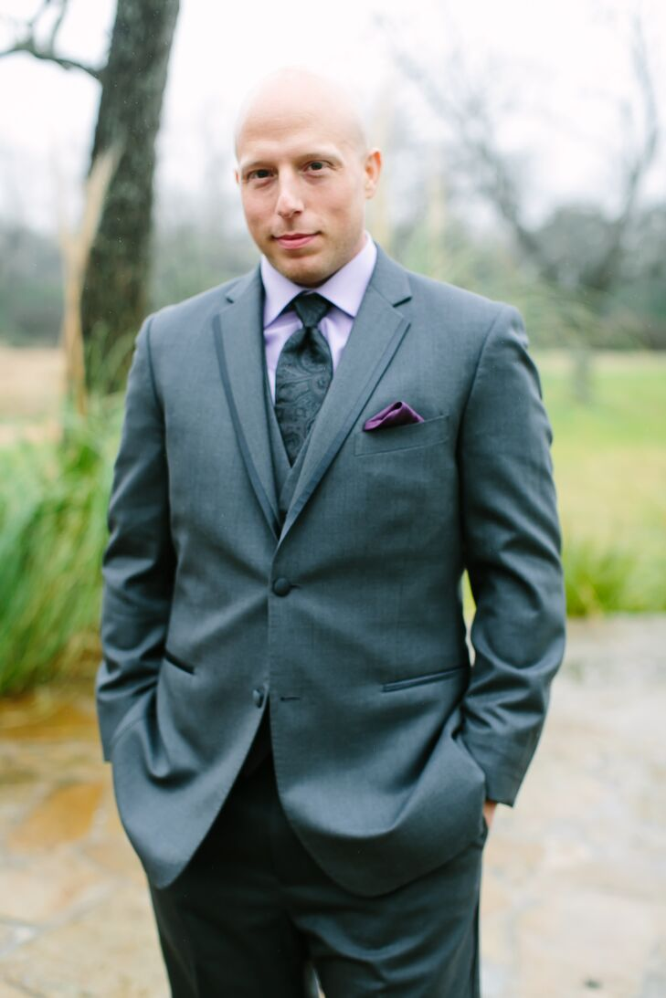 Gray Groom\'s Suit with Purple Accents in Austin, Texas