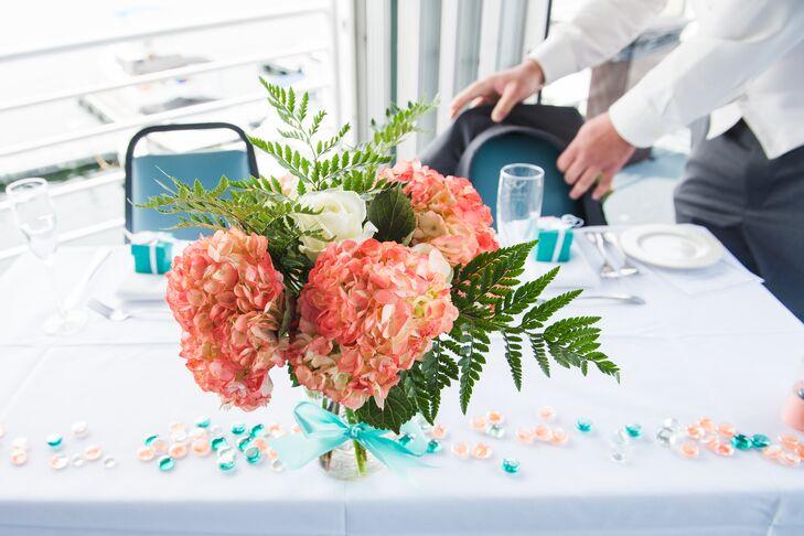Pink hydrangea and fern centerpieces