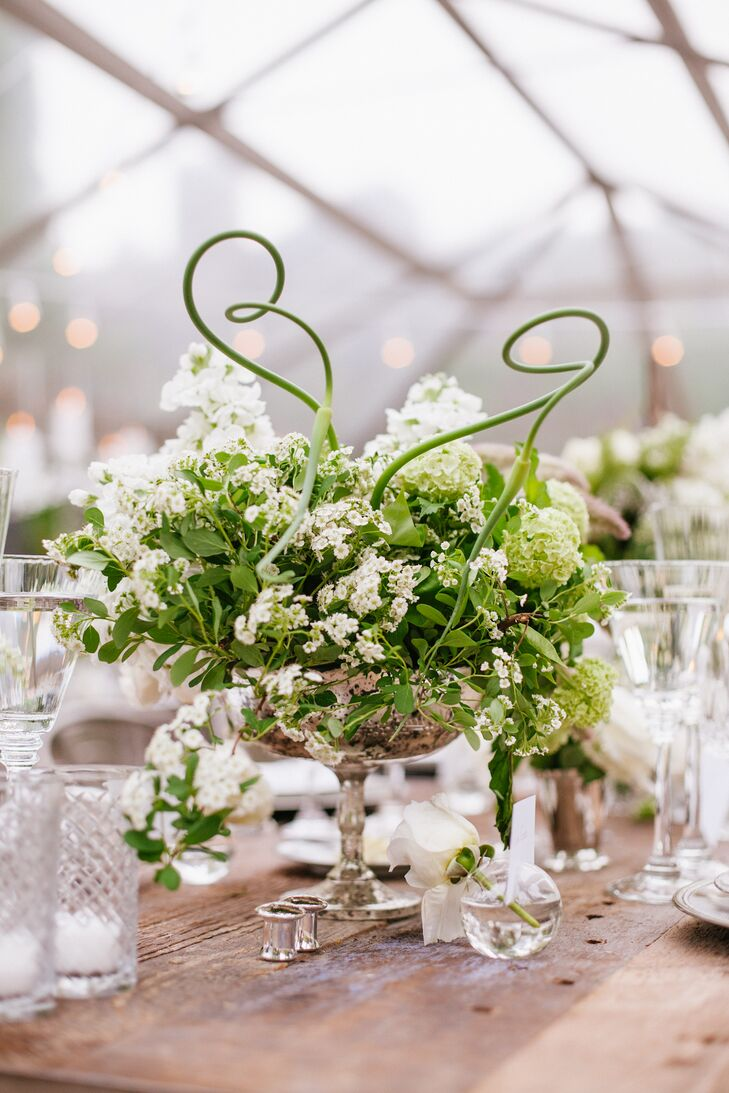 Green and White Curly Willow Reception Centerpiece