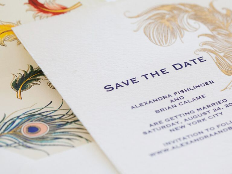 Peacock themed save-the-dates