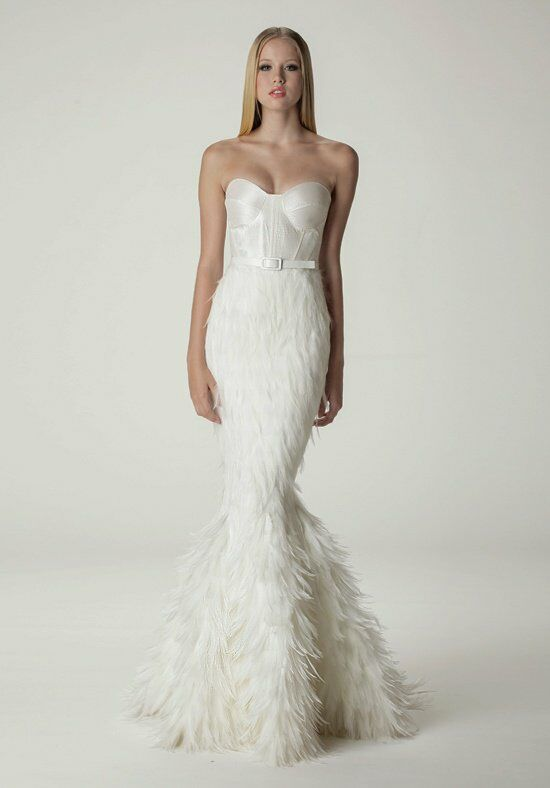 Aria bella wedding dress the knot for Mermaid wedding dresses with feather bottom