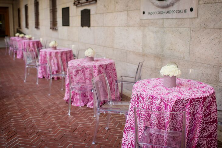 Pink Floral Cocktail Table Linens