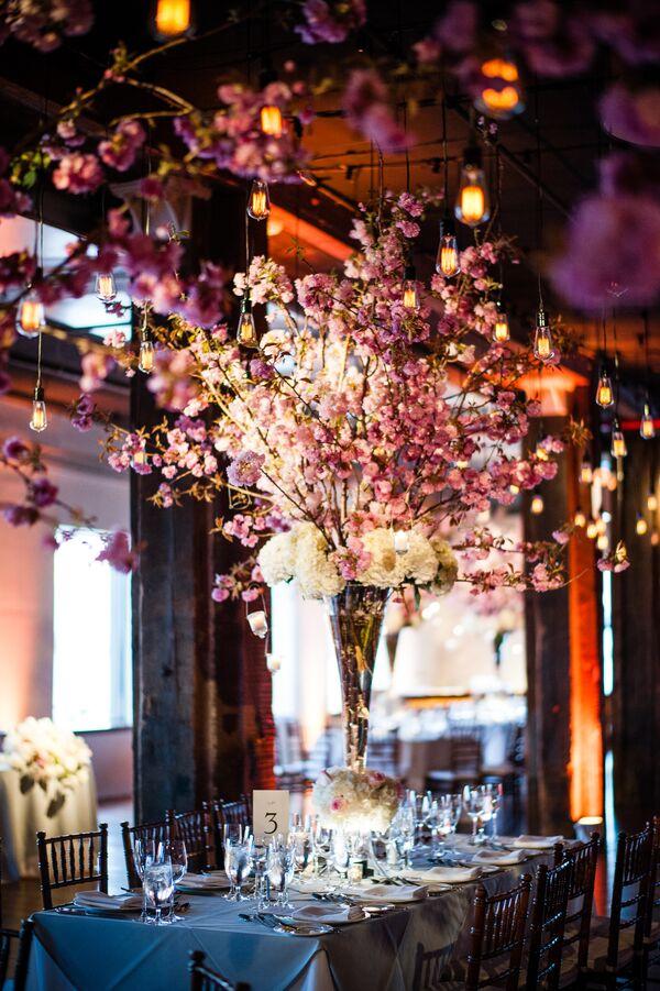 Tall Pink Cherry Blossom Flower Arrangement