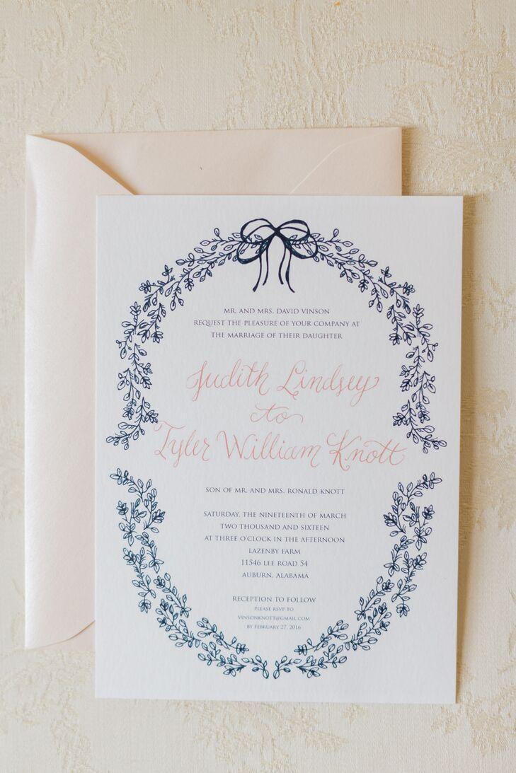Elegant Navy and Blush Wedding Invitation