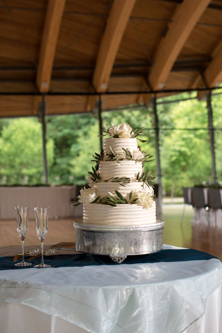 Olive Leaf Decorated Buttercream Wedding Cake