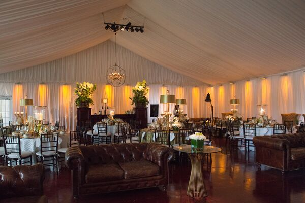 Tented Reception with Glam Mid-Century Flair