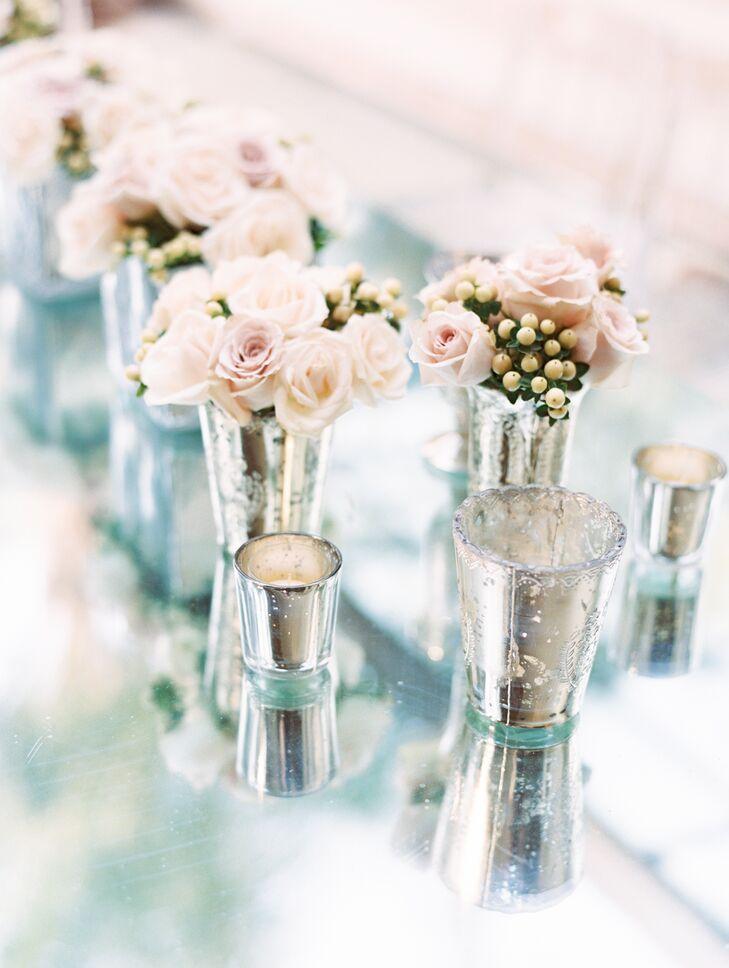 Silver Vase Floral Arrangements With Pale Pink Roses