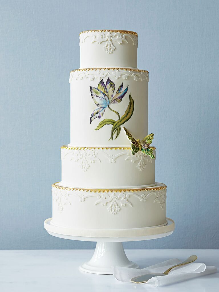 Butterfly Bakeshop Wedding Cake With Hand Painted Flower