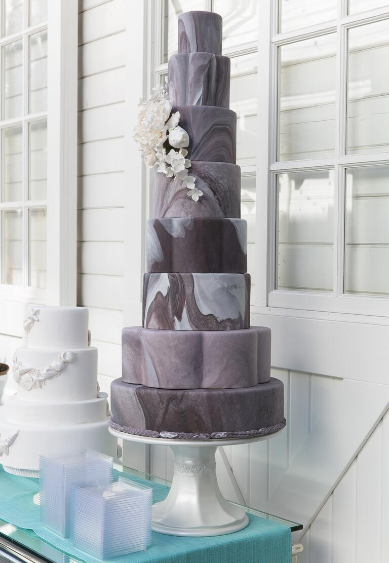 Purple and gray tiered wedding cake