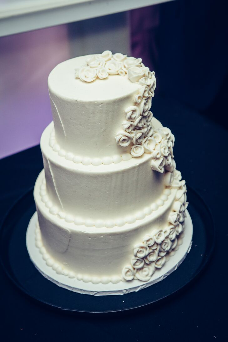 Three-Tiered Wedding Cake with Buttercream Rose Decorations