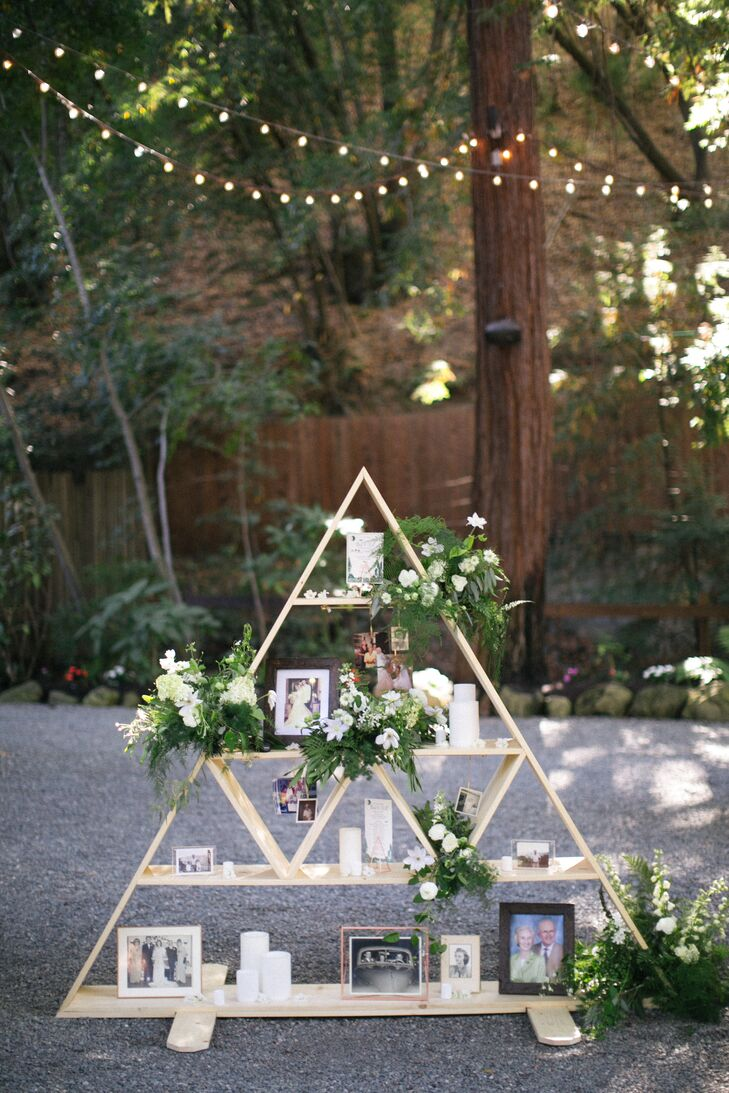 Geometric Wood Family Photo Display Redwood Forest Ceremony