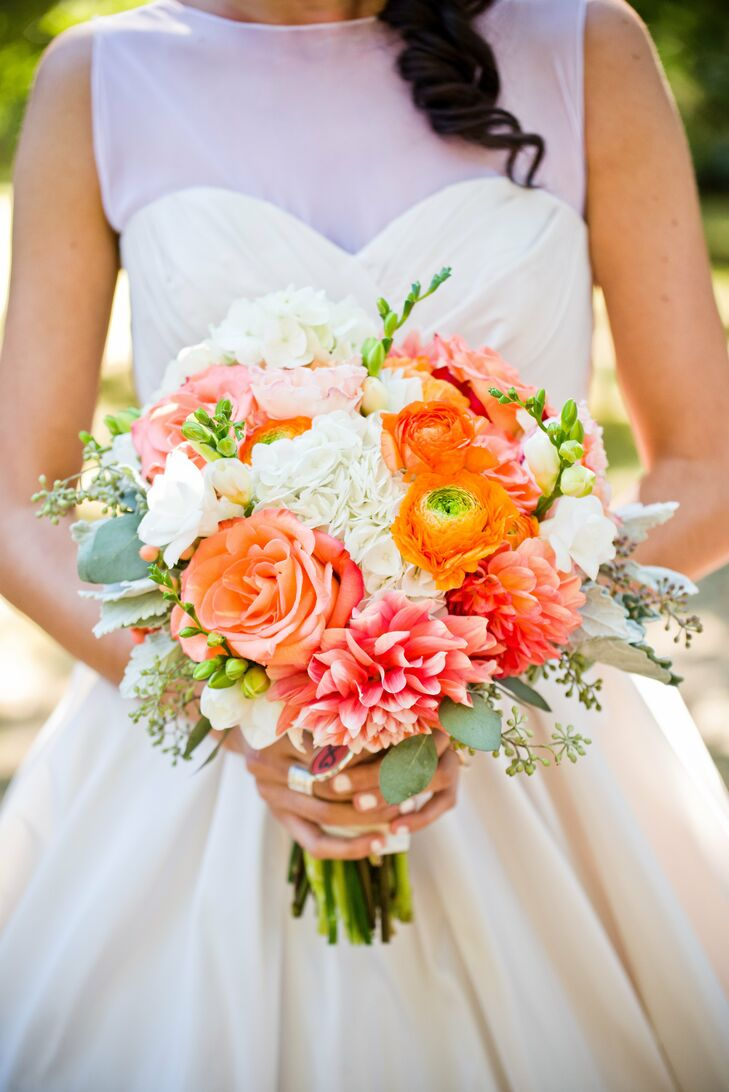 coral colored flowers wedding coral and white bridal bouquet 3056