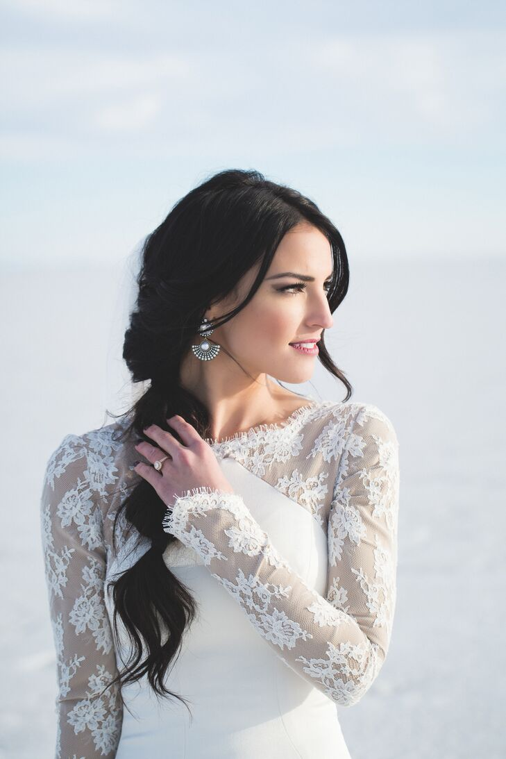 Sheer Detailed Wedding Dress Sleeves on Salt Lake City, Utah, Bride