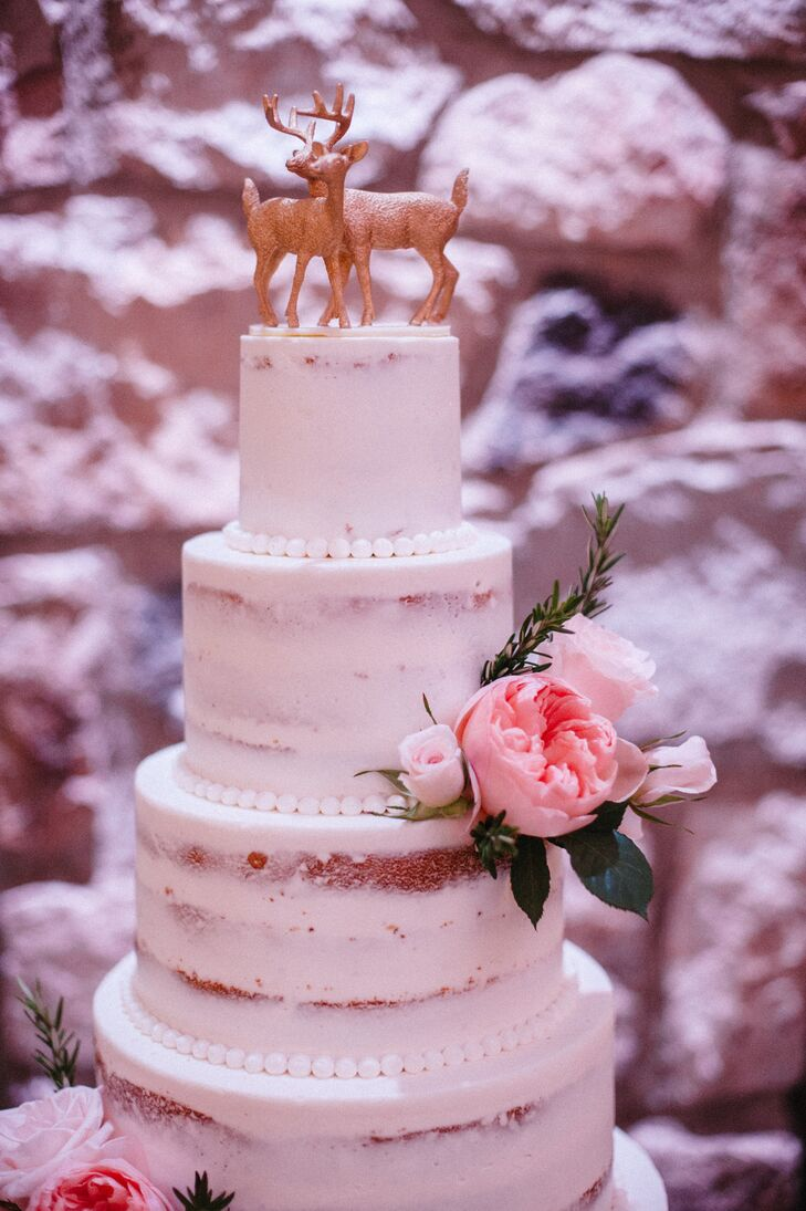 Classic Buttercream Naked Cake with Deer Topper