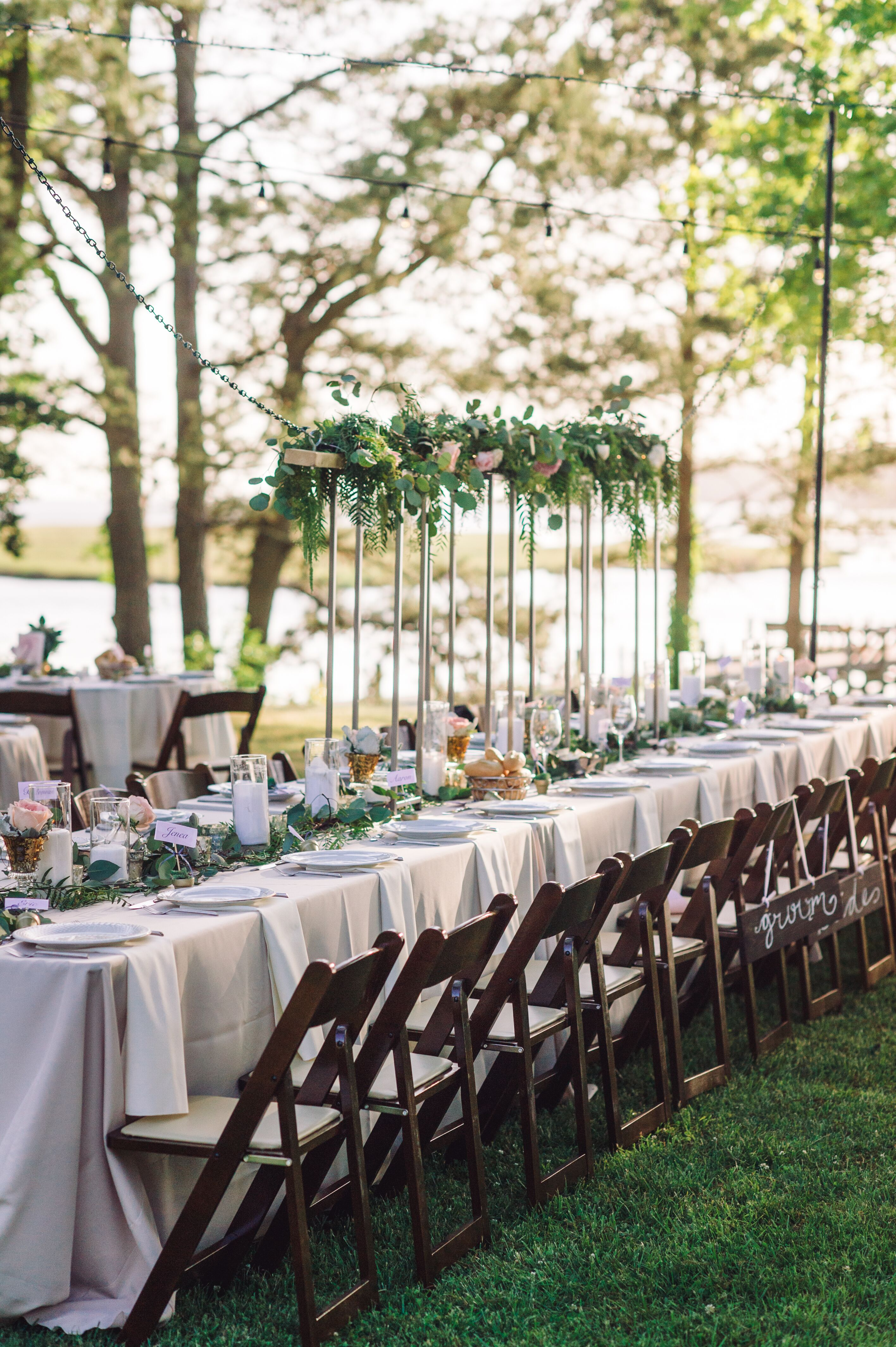 Outdoor Reception with King s Table and Wood Chairs