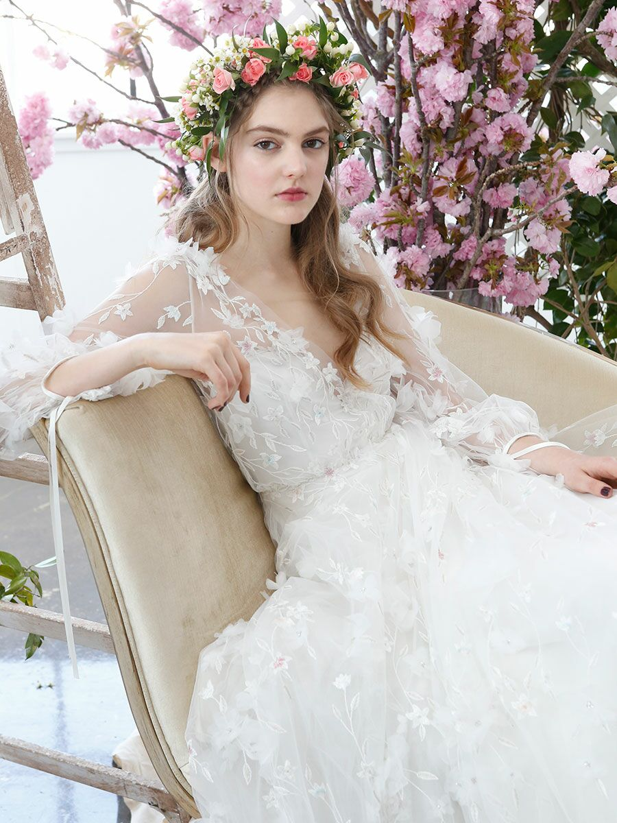 Marchesa Notte Bridal Spring 2018 wedding gown with floral appliqué