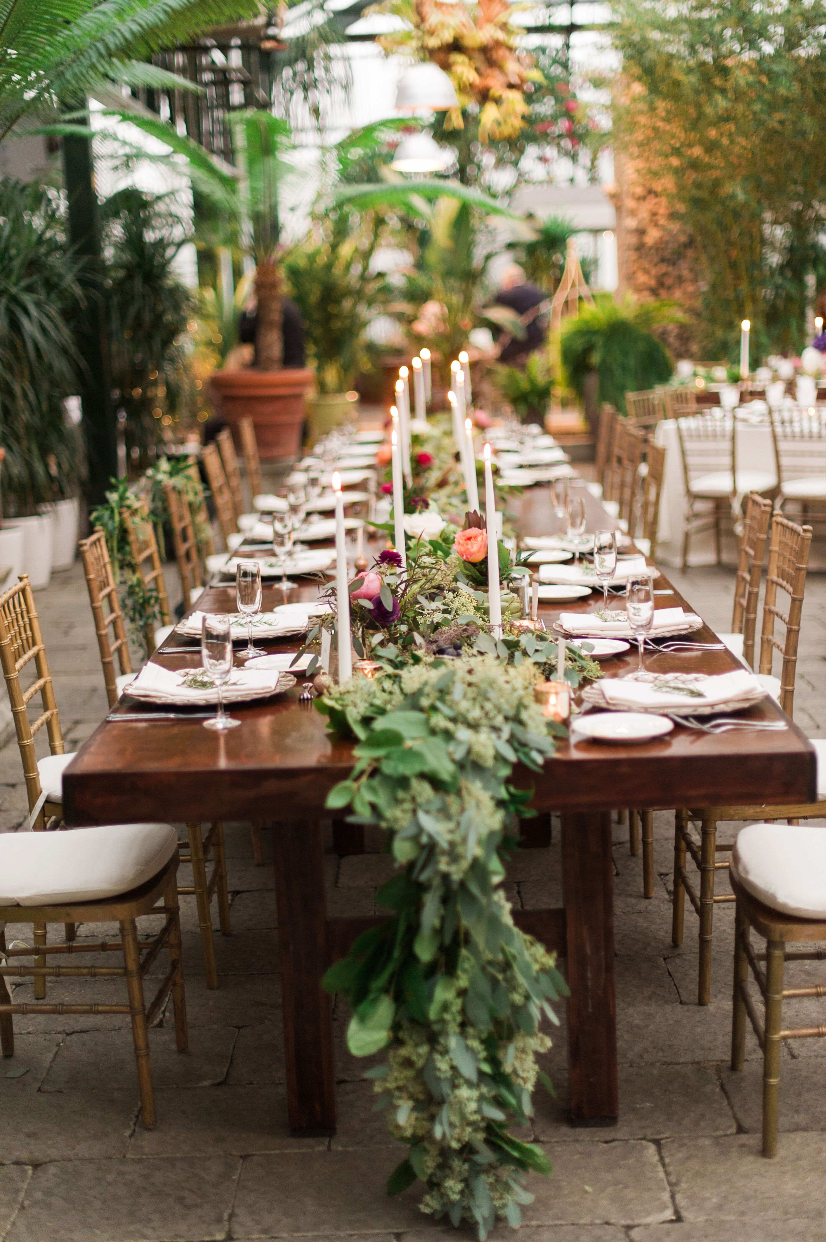 Farm Tables With Green Garland Table Runner