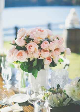 Blush Floral Centerpieces | The Shultzes | The Knot Blog