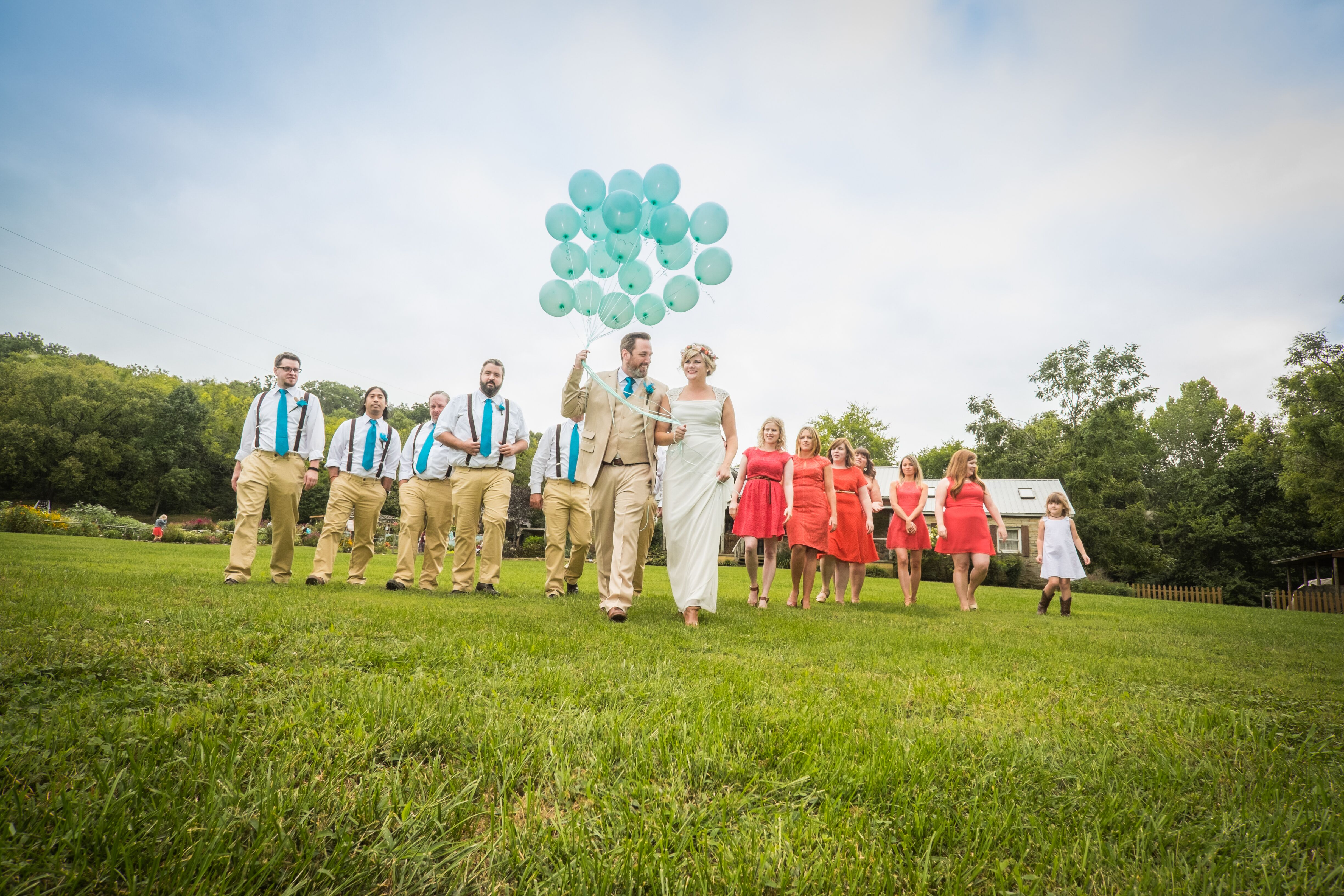 Coral And Turquoise Wedding: Casual Coral And Turquoise Wedding Party