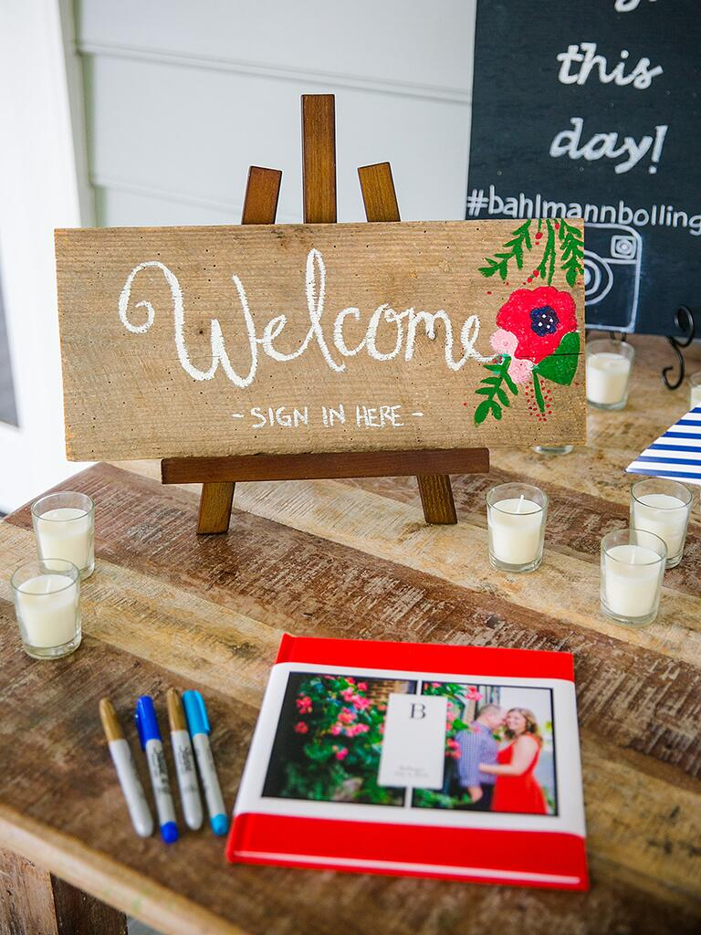 DIY wedding welcome sign that doubles as a sign-in sign