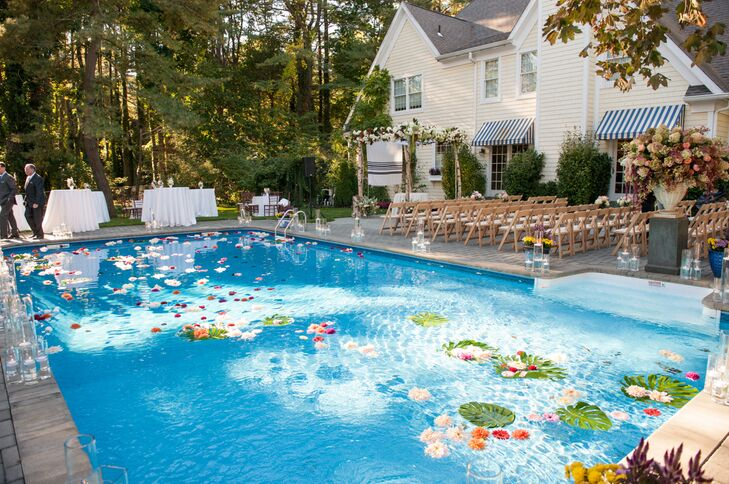 Backyard Wedding Pool Decor