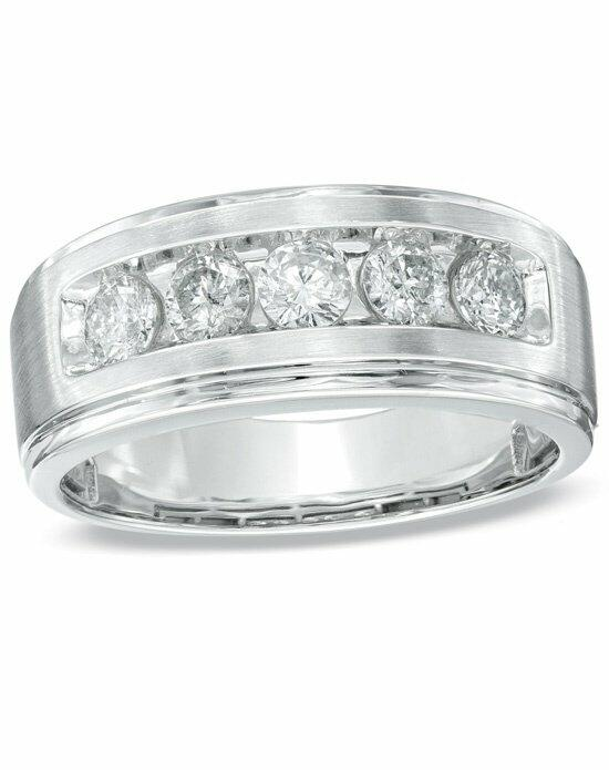 Zales Men's 1 CT. T.W. Diamond Five Stone Band in 14K White Gold  18895227 Wedding Ring photo