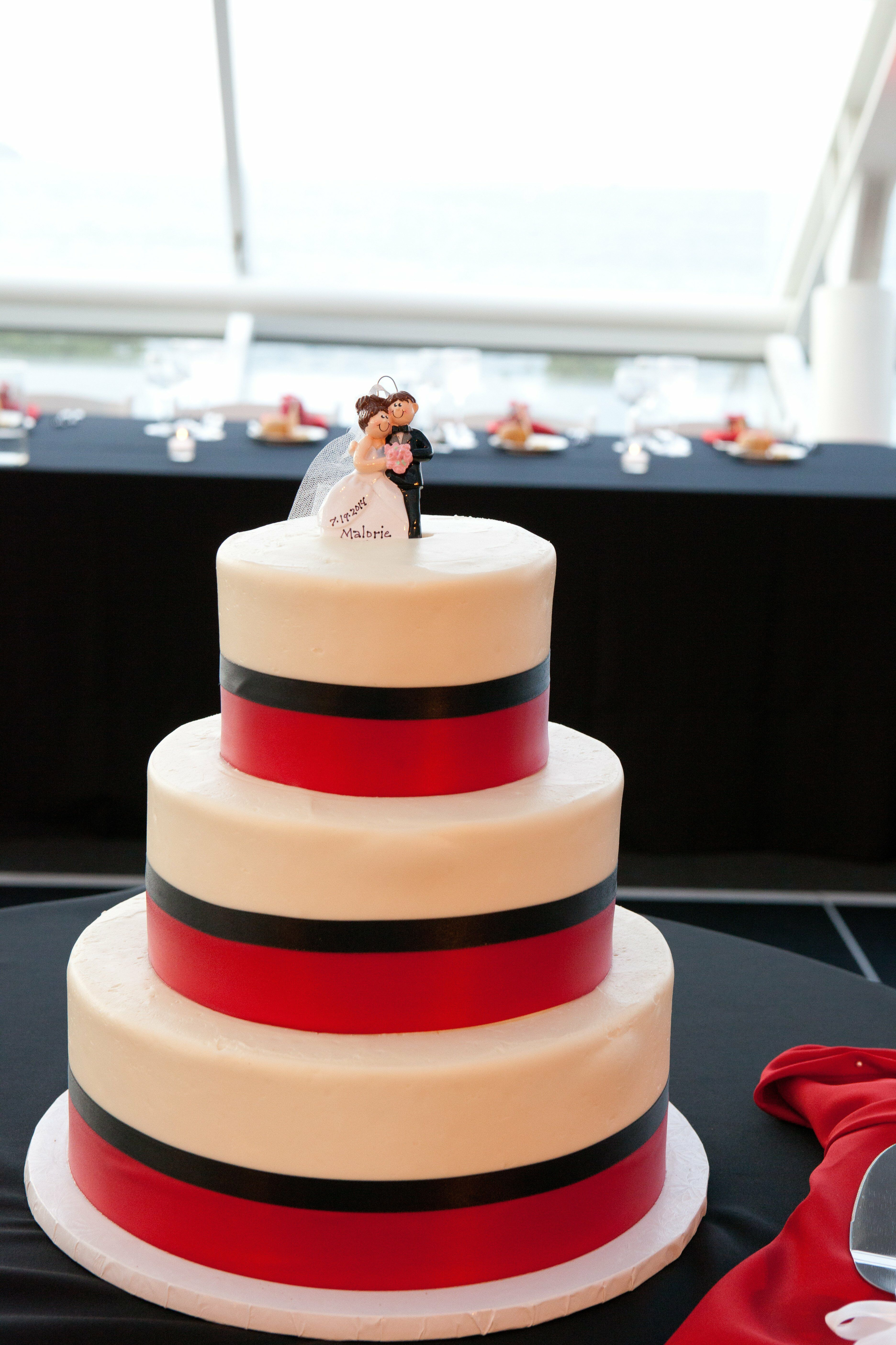 Red White And Black Striped Wedding Cake