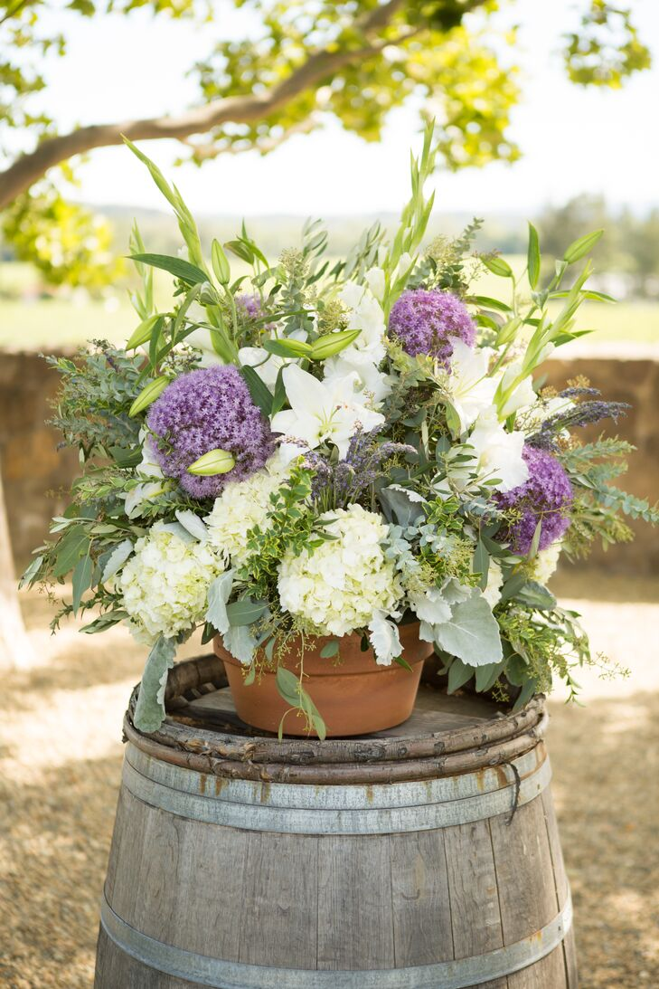 Purple and White Ceremony Altar Arrangements