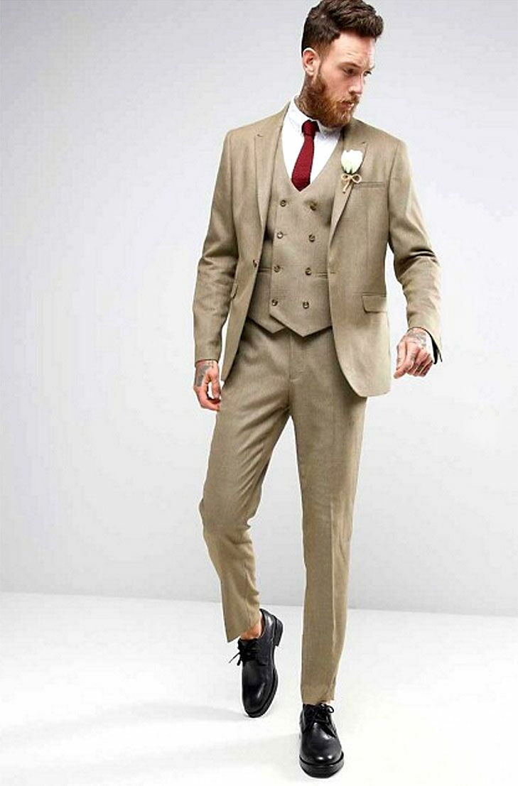 Skiiny Taupe Mens Beach Wedding Attire