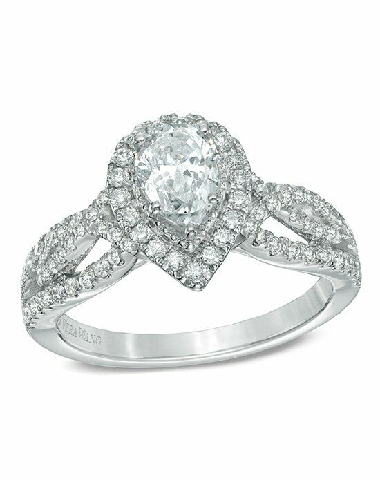 Vera Wang LOVE at Zales Vera Wang LOVE Collection 1 CT. T.W. Pear-Shaped Diamond Vintage-Style Ring in 14K White Gold  19952483 Engagement Ring photo