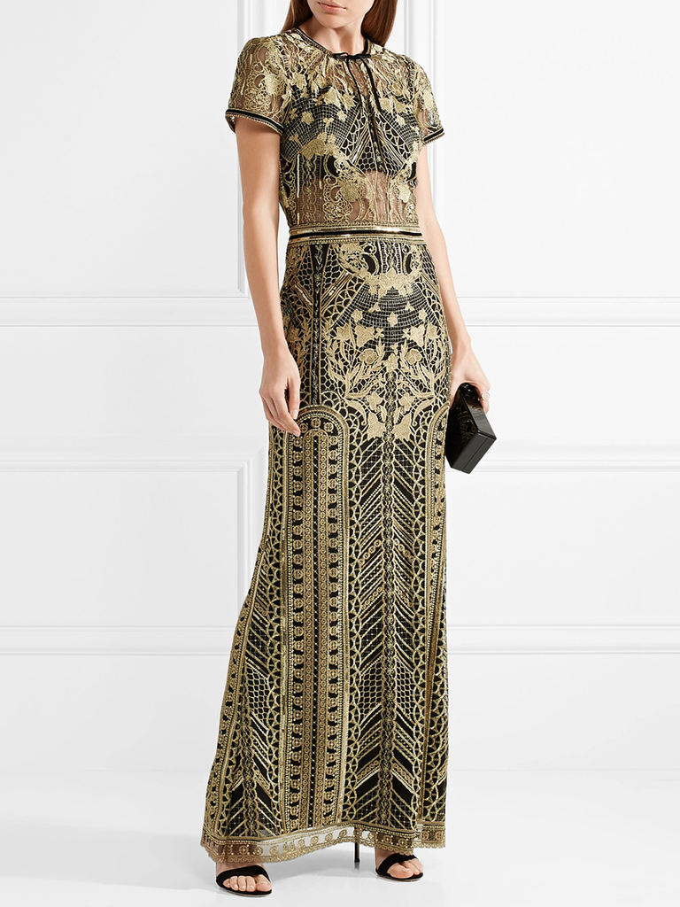 With Gold Embroidery And Sheer Panels This Gorgeous Gown Is Perfectly Festive For Winter Weddings
