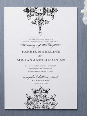 Custom Monogram In G Wreath On Winery Wedding Invitation