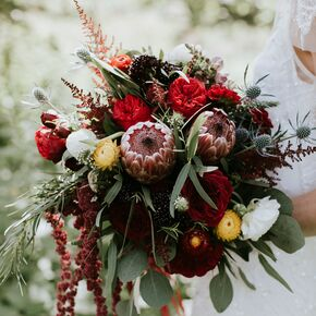 Fall wedding bouquets rustic burgundy protea and thistle bouquet junglespirit Gallery
