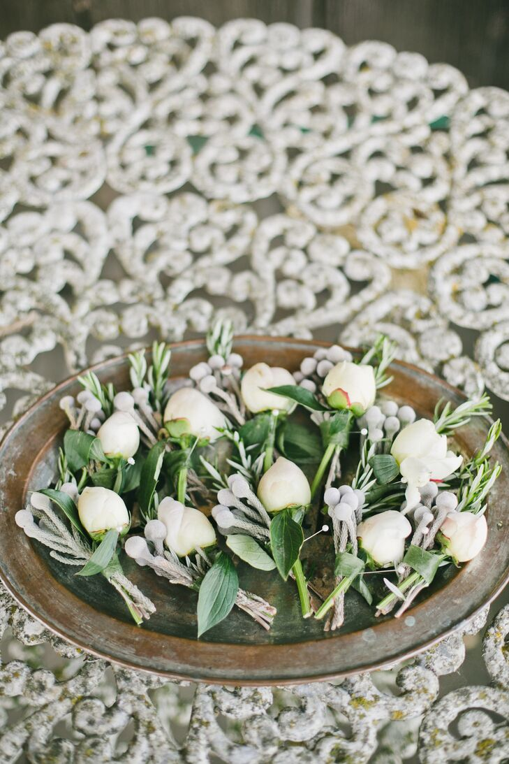 White Gardenia and Silver Brunia Boutonnieres